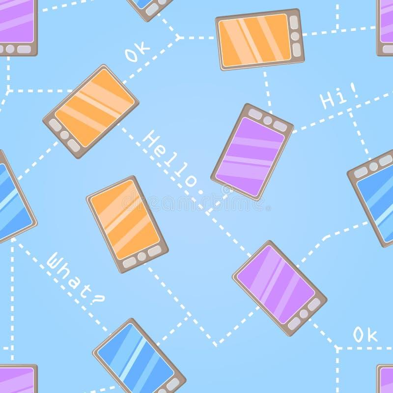 Reticolo senza giunte con i telefoni delle cellule illustrazione vettoriale