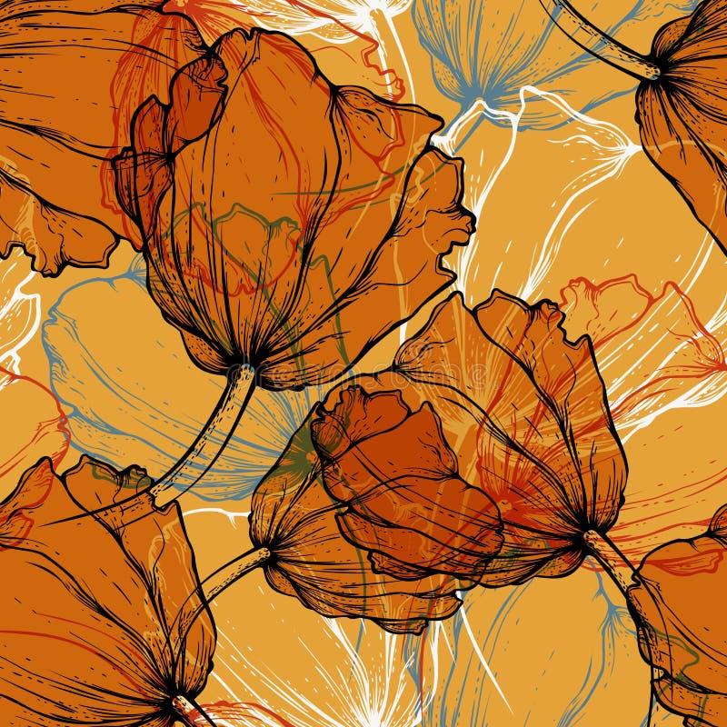 Reticolo senza giunte con i tulipani di fioritura illustrazione vettoriale
