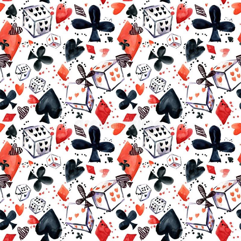 Reticolo senza giunte con i vestiti della scheda Carte da gioco vanga, cuore, club, diamante illustrazione di stock