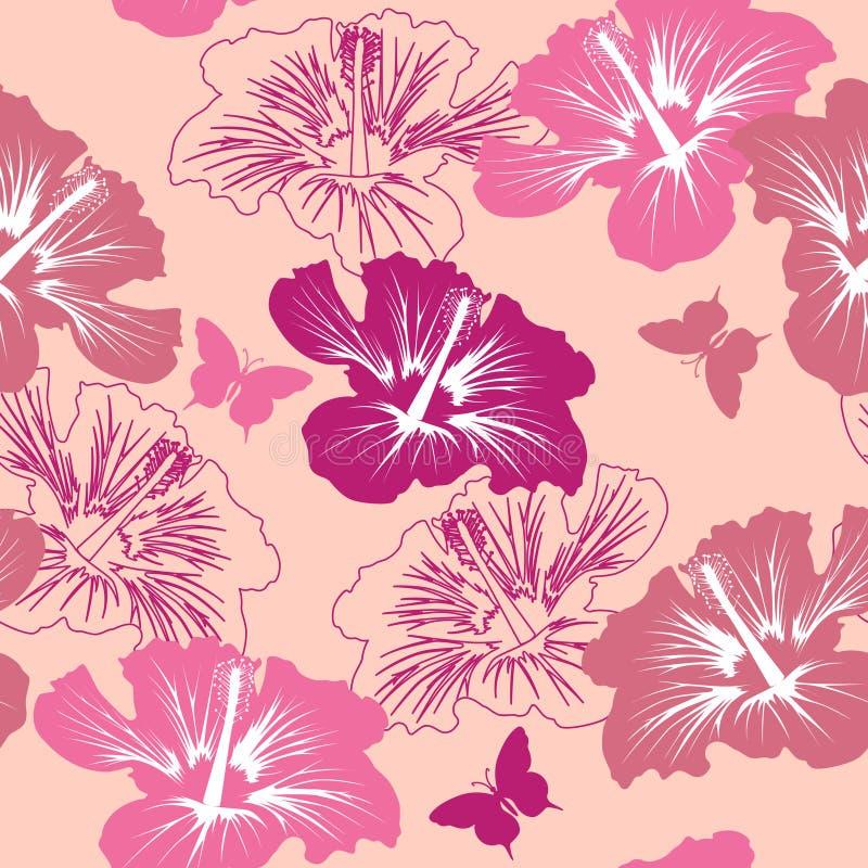 Reticolo senza giunte con il fiore tropicale royalty illustrazione gratis