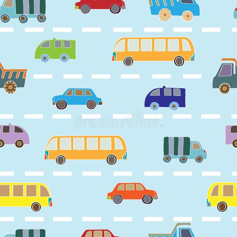 Reticolo senza giunte con le automobili royalty illustrazione gratis