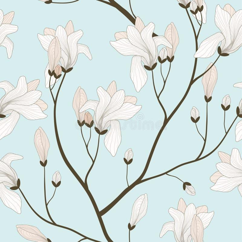 Reticolo senza giunte con le filiali di fioritura royalty illustrazione gratis