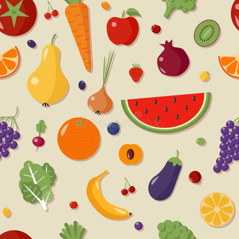 Reticolo senza giunte con le frutta e le verdure illustrazione vettoriale