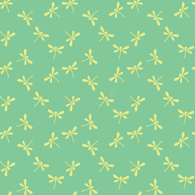 Reticolo senza giunte con le libellule illustrazione vettoriale