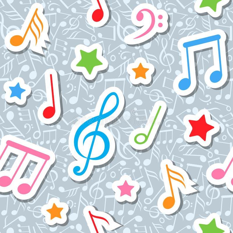 Reticolo senza giunte con le note e le stelle di musica illustrazione di stock