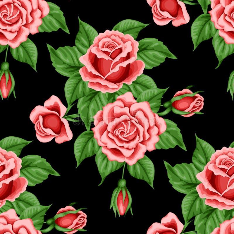 Reticolo senza giunte con le rose illustrazione vettoriale