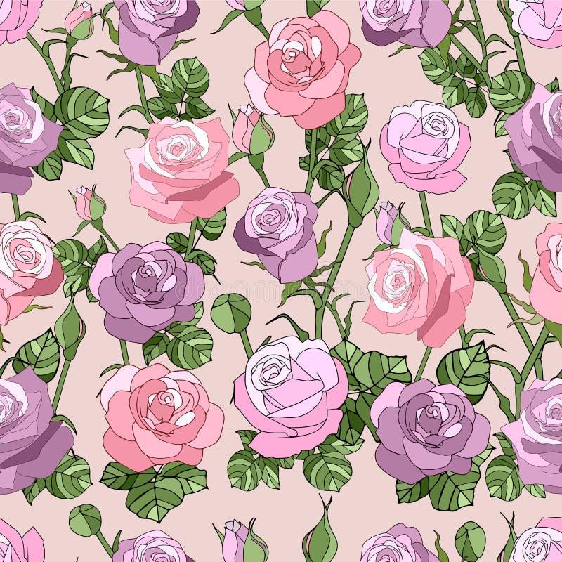 Reticolo senza giunte con le rose dentellare illustrazione vettoriale