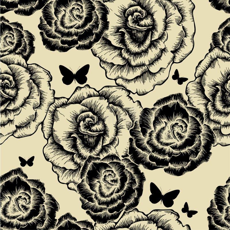 Reticolo senza giunte con le rose e il butterfli di fioritura illustrazione di stock