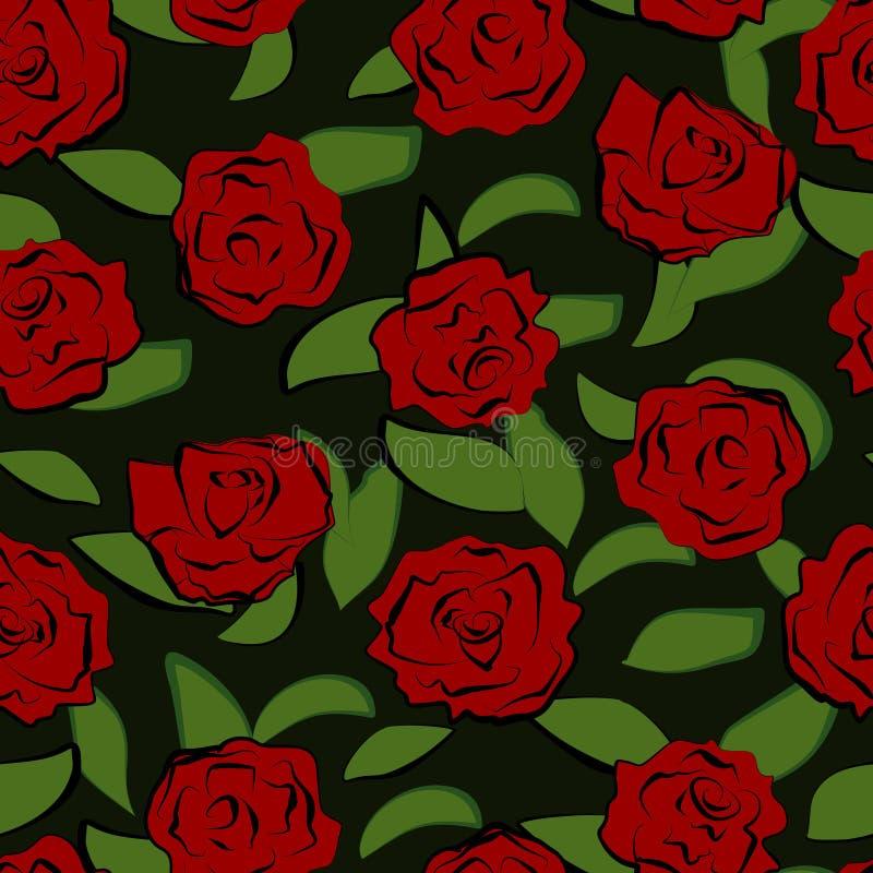 Reticolo senza giunte con le rose rosse illustrazione vettoriale