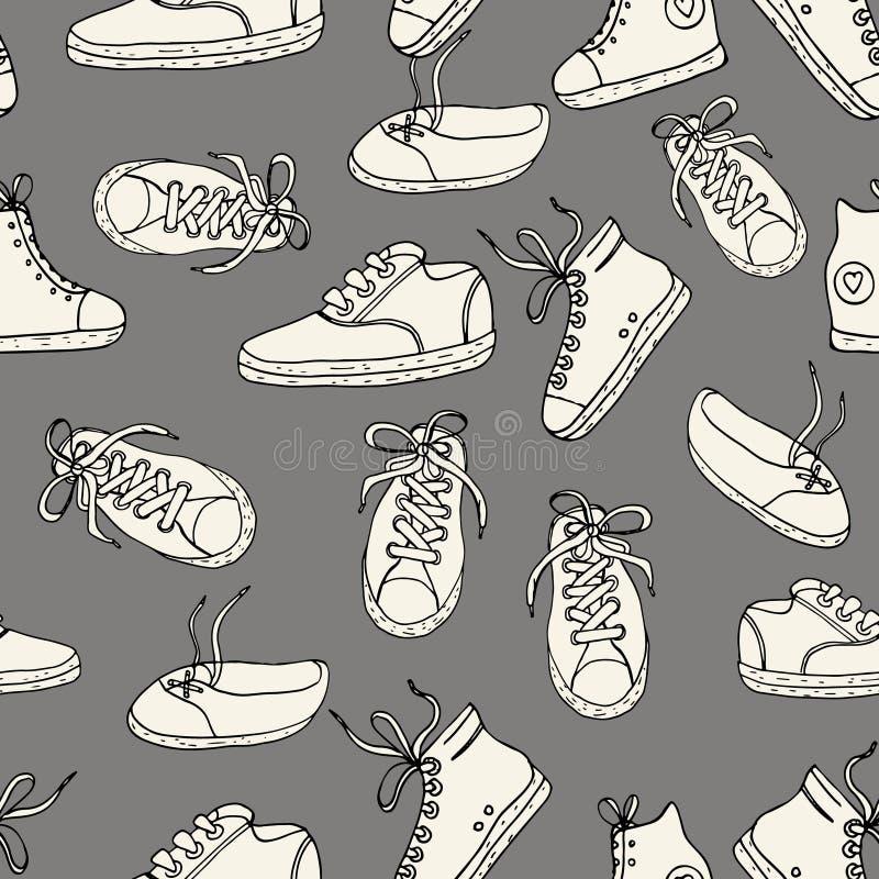 Reticolo senza giunte con le scarpe da tennis Textu disegnato a mano d'annata di vettore royalty illustrazione gratis