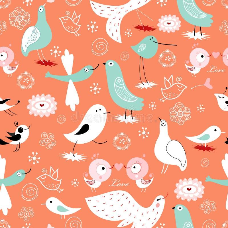 Reticolo senza giunte degli uccelli ornamentali illustrazione di stock