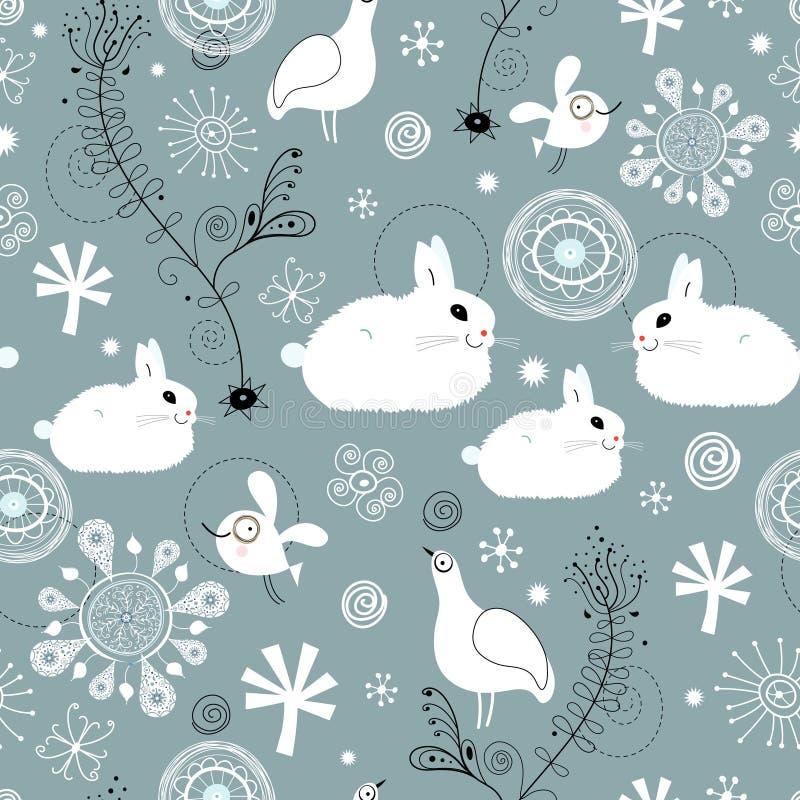 Reticolo senza giunte dei conigli bianchi illustrazione di stock