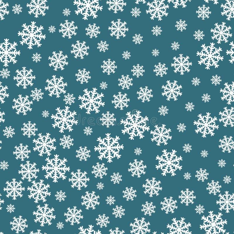 Reticolo senza giunte dei fiocchi di neve Decorazione del fondo del fiocco di neve Vettore del modello di Natale royalty illustrazione gratis