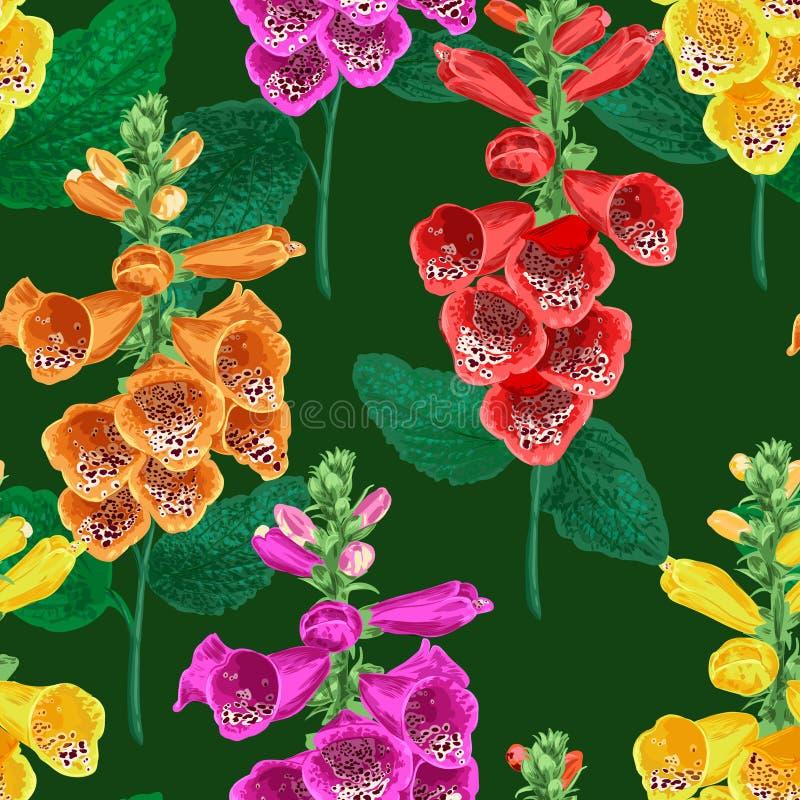 Reticolo senza giunte dei fiori tropicali Fondo floreale di estate con Tiger Lily Flower Progettazione di fioritura dell'acquerel illustrazione vettoriale