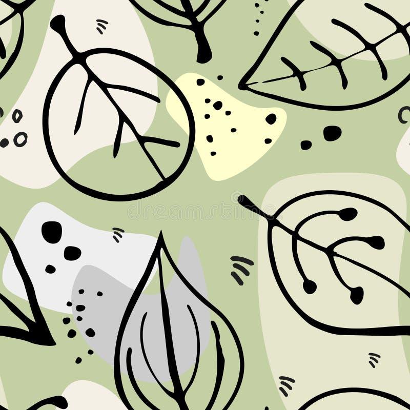 Reticolo senza giunte dei fogli di autunno illustrazione di stock