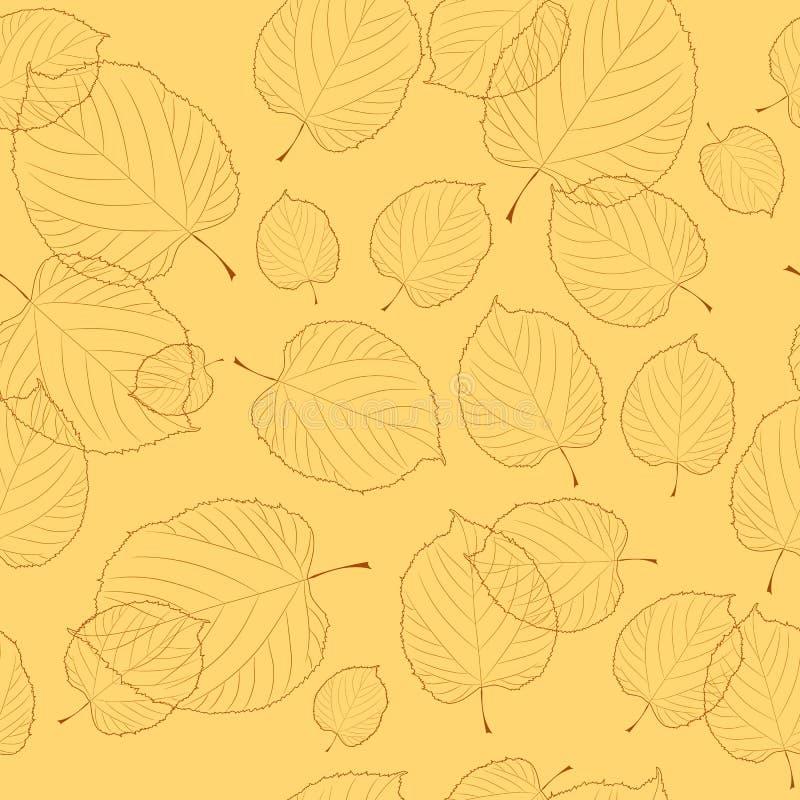 Reticolo senza giunte dei fogli su priorità bassa beige illustrazione di stock