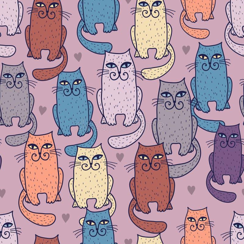 Reticolo senza giunte dei gatti Multicoloured illustrazione di stock