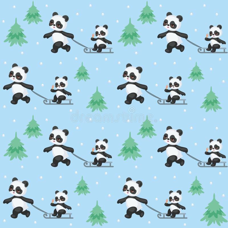 Reticolo senza giunte dei panda svegli royalty illustrazione gratis