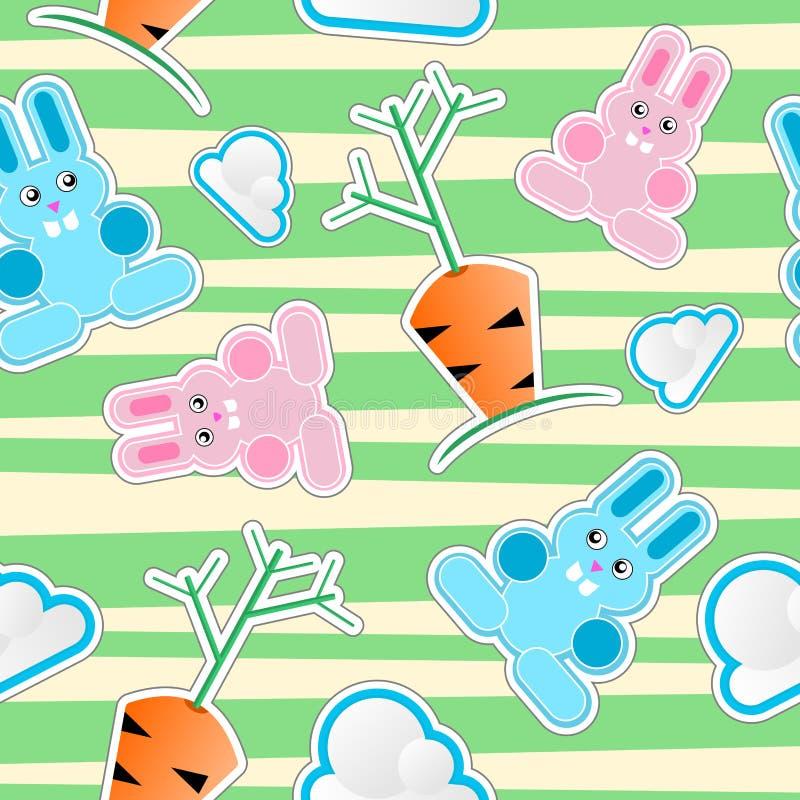 Reticolo senza giunte del bambino con i coniglietti, nubi, carote royalty illustrazione gratis