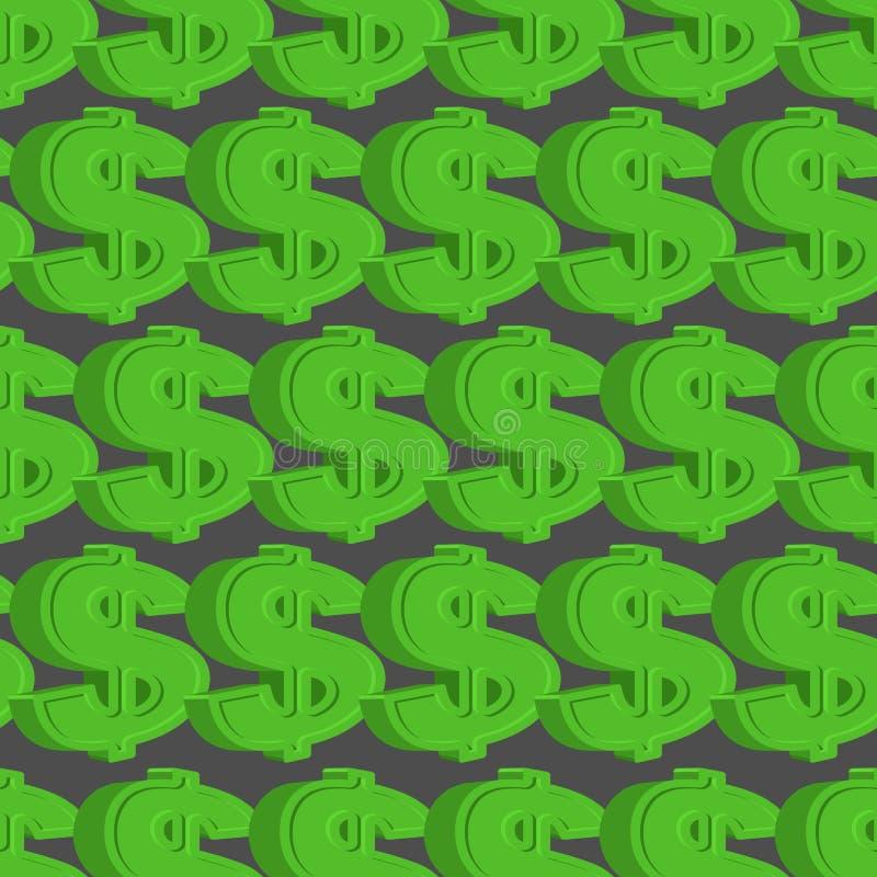 Reticolo senza giunte del dollaro Fondo verde del dollaro illustrazione vettoriale