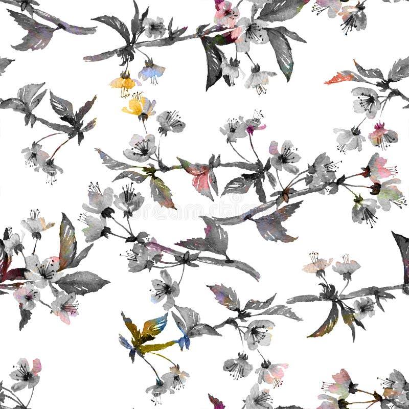 Reticolo senza giunte del fiore di ciliegia illustrazione vettoriale