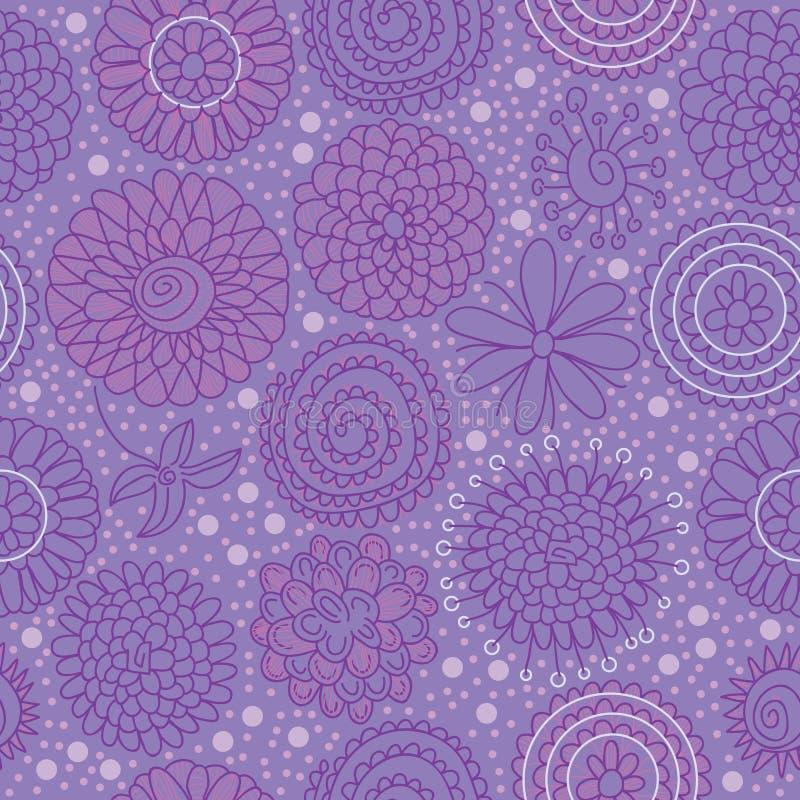 Reticolo senza giunte del gruppo del fiore del cerchio illustrazione di stock