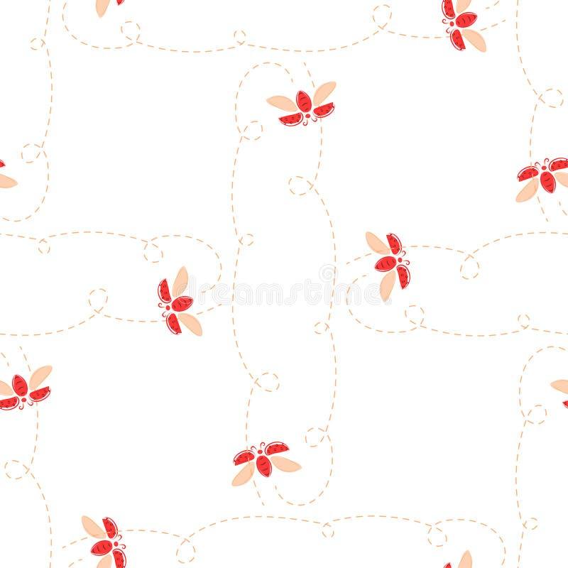 Reticolo senza giunte del Ladybug Le coccinelle volano su un fondo bianco illustrazione di stock
