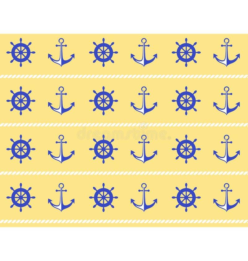Reticolo senza giunte del mare Ruota blu e ancora severa su giallo illustrazione di stock