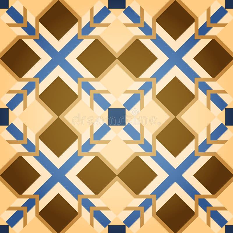Reticolo senza giunte del quadrato del mosaico del Brown illustrazione di stock