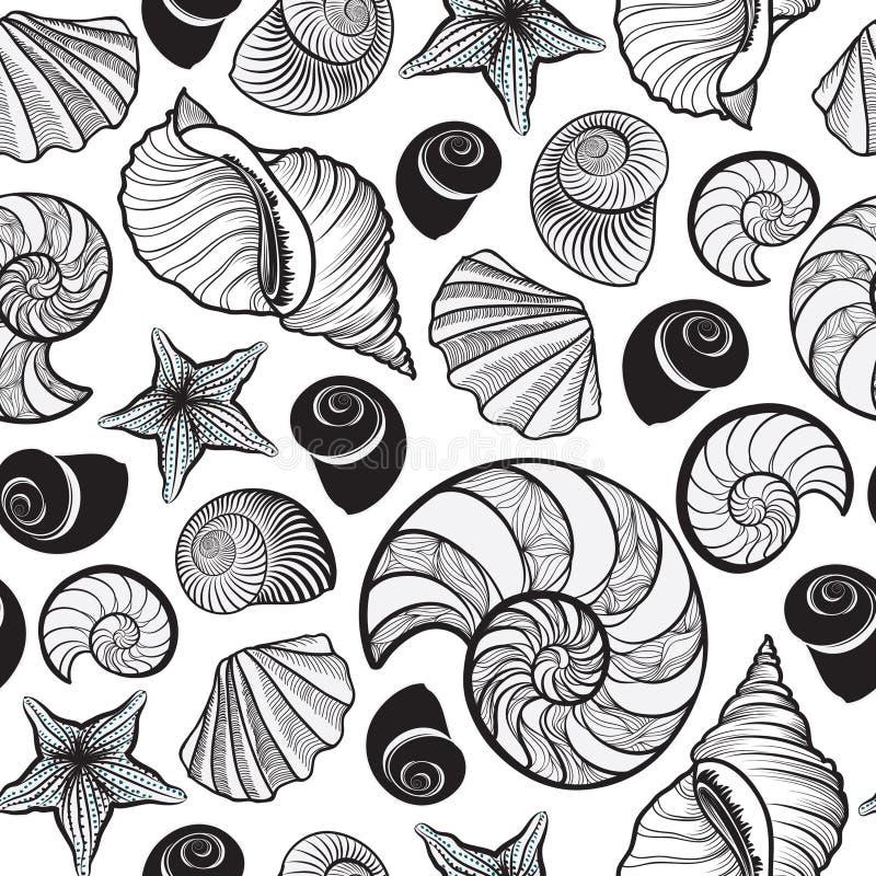 Reticolo senza giunte del Seashell Fondo del marinaio di vacanza estiva illustrazione vettoriale