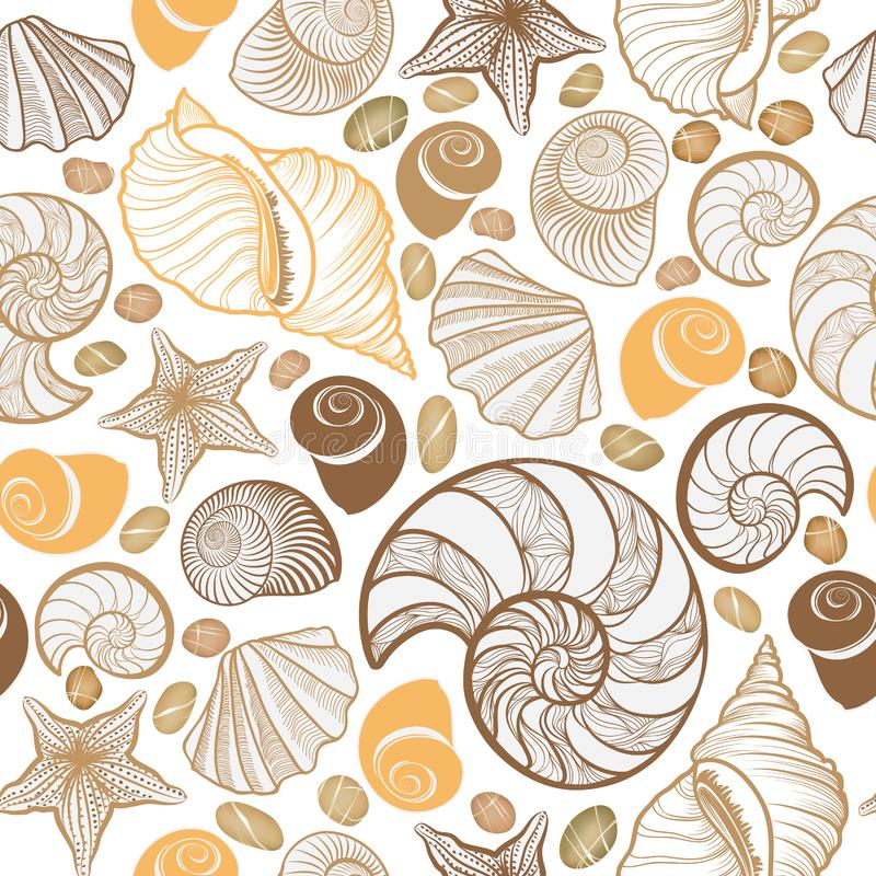 Reticolo senza giunte del Seashell Fondo del marinaio di vacanza estiva illustrazione di stock