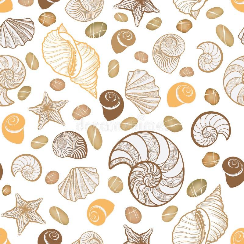 Reticolo senza giunte del Seashell Fondo del marinaio di vacanza estiva royalty illustrazione gratis