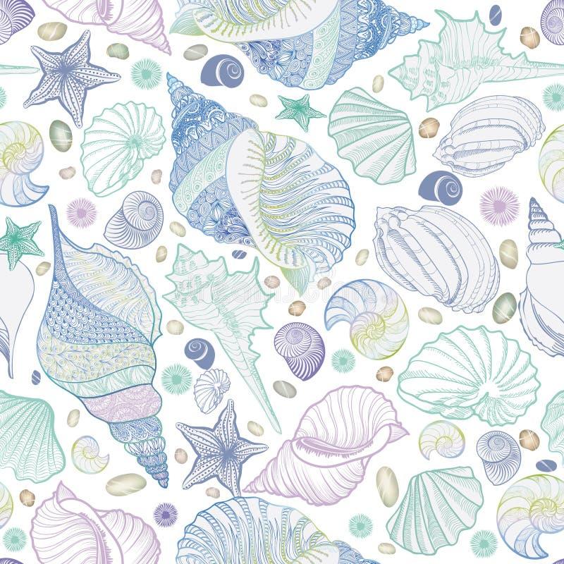 Reticolo senza giunte del Seashell Fondo subacqueo marino di vacanza estiva illustrazione vettoriale