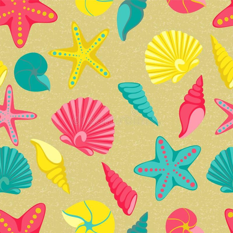 Reticolo senza giunte del Seashell progetti per la cartolina d'auguri di festa e l'invito delle vacanze estive stagionali, i part illustrazione di stock