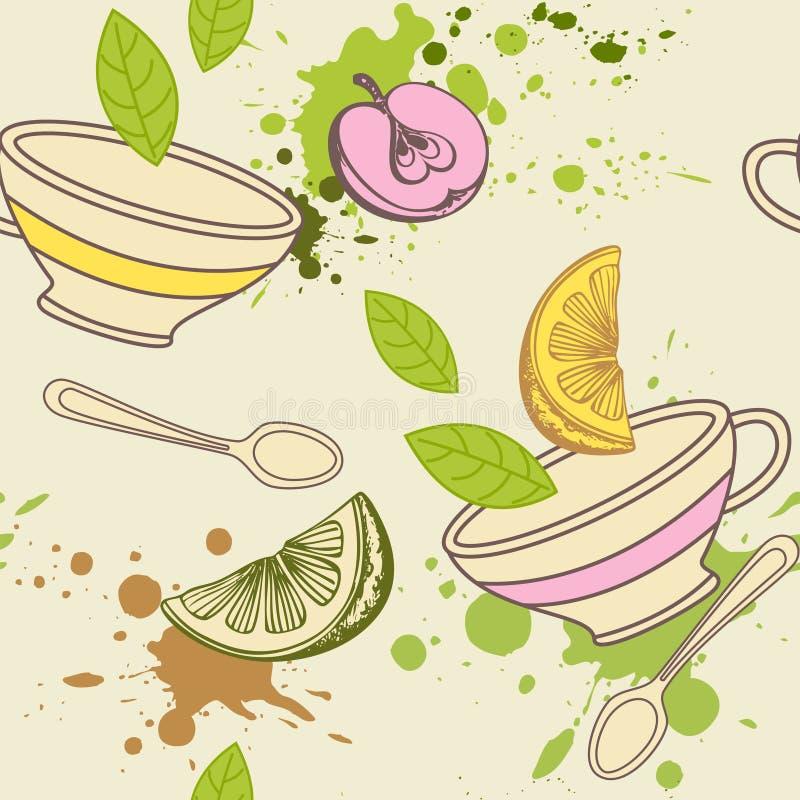 Reticolo senza giunte del tè illustrazione di stock