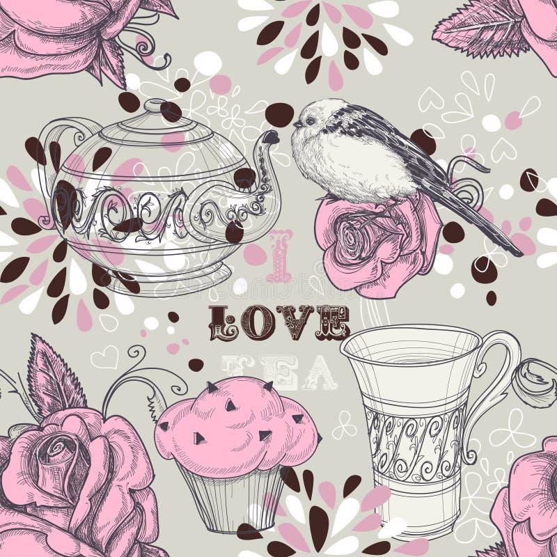 Reticolo senza giunte del tè royalty illustrazione gratis
