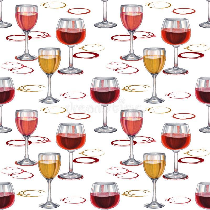 Reticolo senza giunte del vino Modello disegnato a mano con il bicchiere di vino fotografie stock