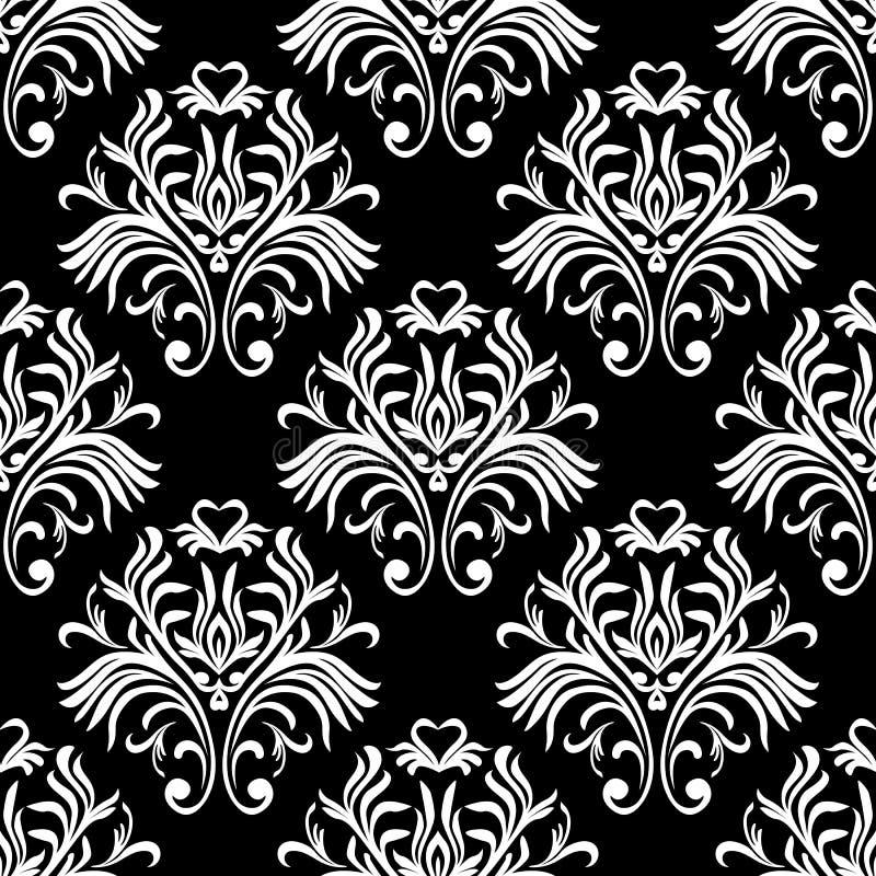 Reticolo senza giunte dell'annata Carta da parati decorata floreale Fondo scuro del damasco di vettore con gli ornamenti ed i fio illustrazione vettoriale