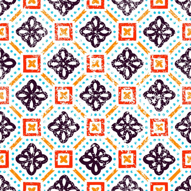 Reticolo senza giunte dell'annata Motivi etnici e tribali Mattonelle quadrate dell'ornamento Illustrazione di vettore illustrazione vettoriale