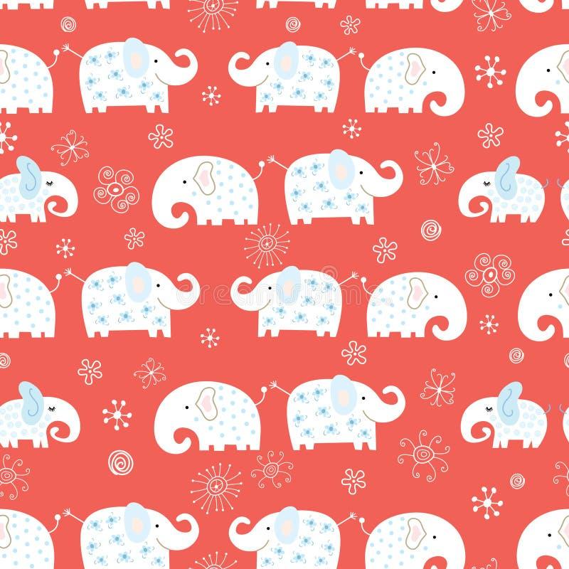 Reticolo senza giunte dell'elefante divertente illustrazione di stock