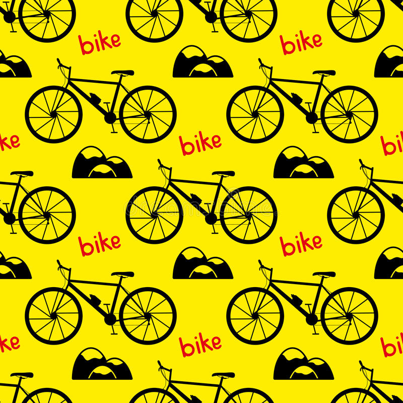 Reticolo senza giunte della bicicletta bike la prospettiva biking della montagna delle mani della foresta del fuoco del campo di  illustrazione di stock
