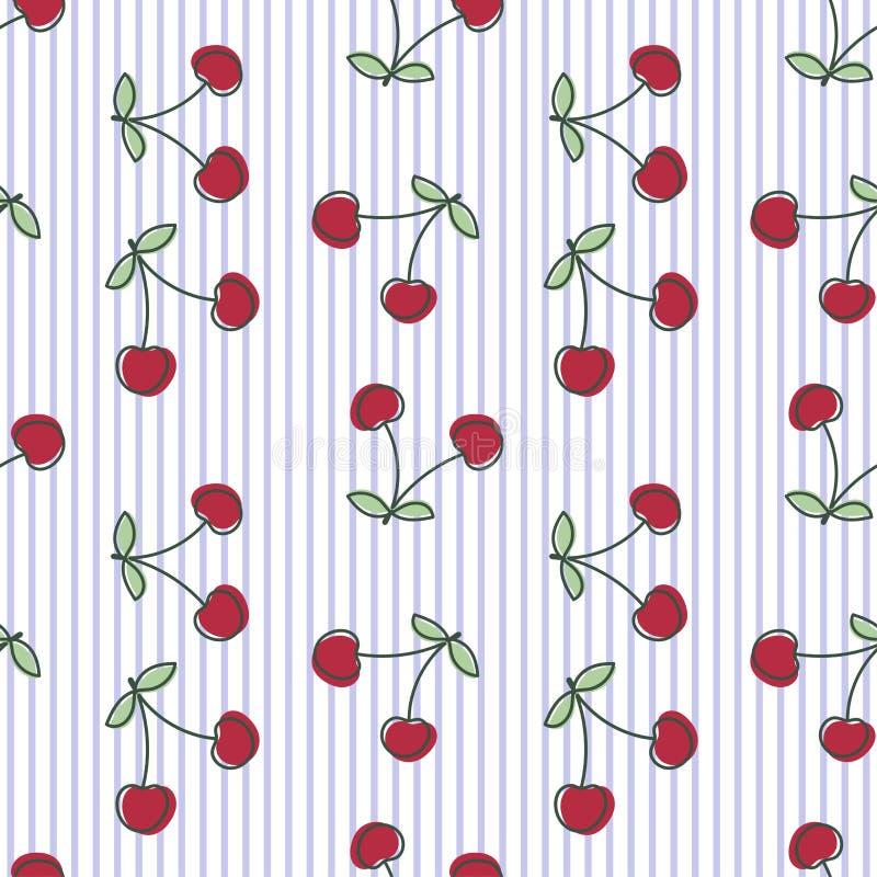 Reticolo senza giunte della ciliegia Bacca fresca disegnata a mano Fondo a strisce di schizzo di vettore Carta da parati di scara royalty illustrazione gratis