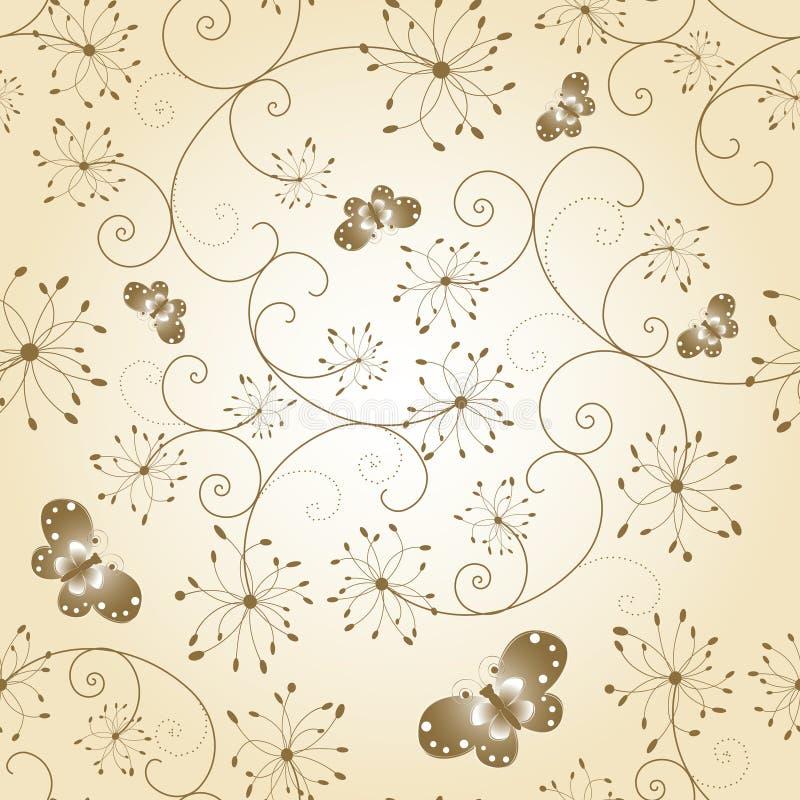 Reticolo senza giunte della farfalla floreale astratta illustrazione di stock