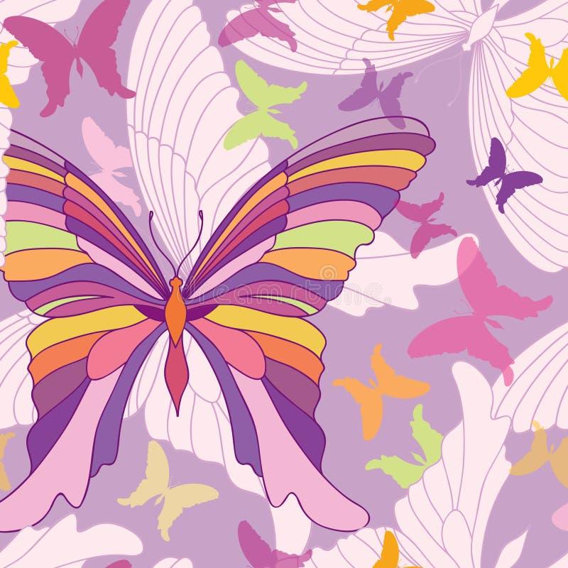 Reticolo senza giunte della farfalla Fondo felice del partito di estate nello stile degli anni 60 di Pop art royalty illustrazione gratis