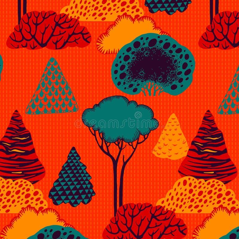 Reticolo senza giunte della foresta illustrazione di stock