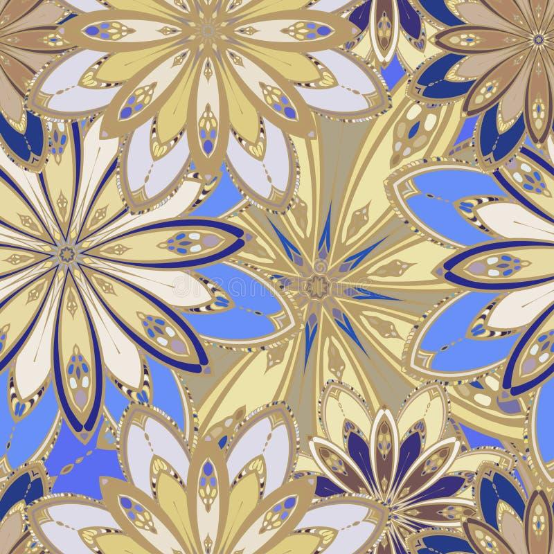 Reticolo senza giunte della mandala Elementi decorativi dell'annata Fondo disegnato a mano royalty illustrazione gratis