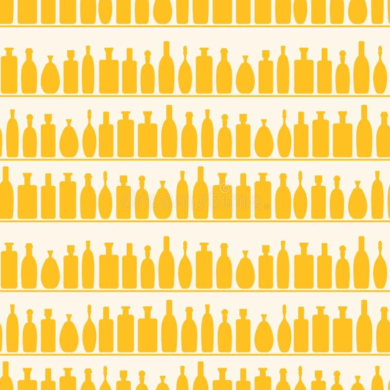 Reticolo senza giunte della mensola delle bottiglie di vino illustrazione vettoriale