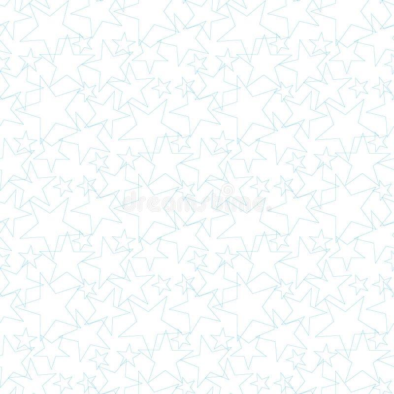 Reticolo senza giunte della stella Stelle blu sveglie su un fondo giallo Acquazzone di bambino Modo dei bambini Illustrazione di  royalty illustrazione gratis