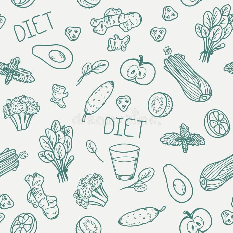 Reticolo senza giunte delle verdure Fondo sano di cibo royalty illustrazione gratis