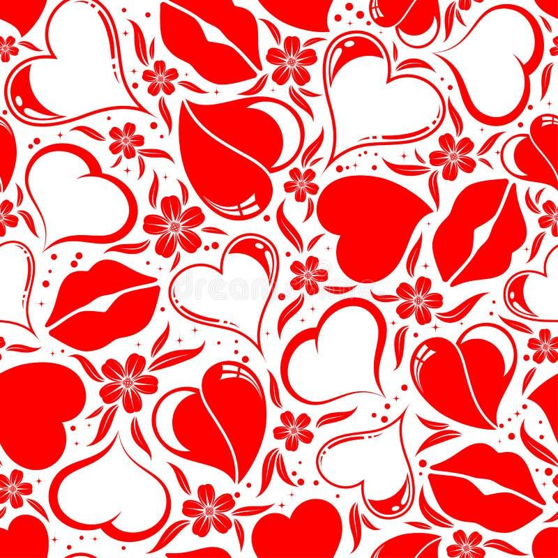 Reticolo senza giunte di giorno dei biglietti di S. Valentino illustrazione di stock